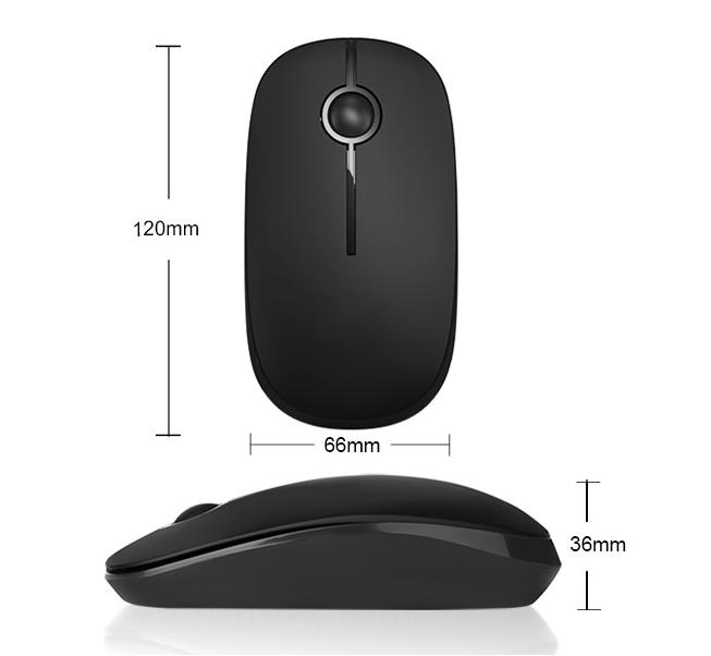 Black Computer Hardware Devices Multi - Channel Wireless Mouse 120 * 66 * 36mm