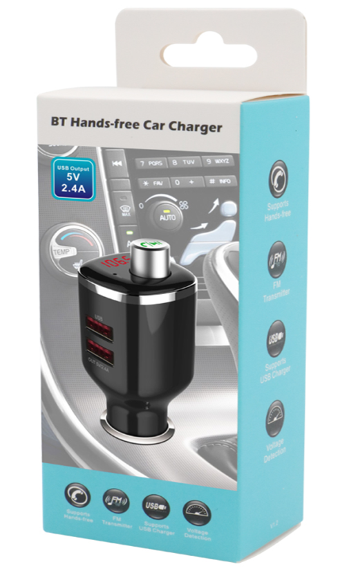 Bluetooth 4.2 Fast Car Charger Handsfree Calling MP3 Player Dual USB FM Transmitter
