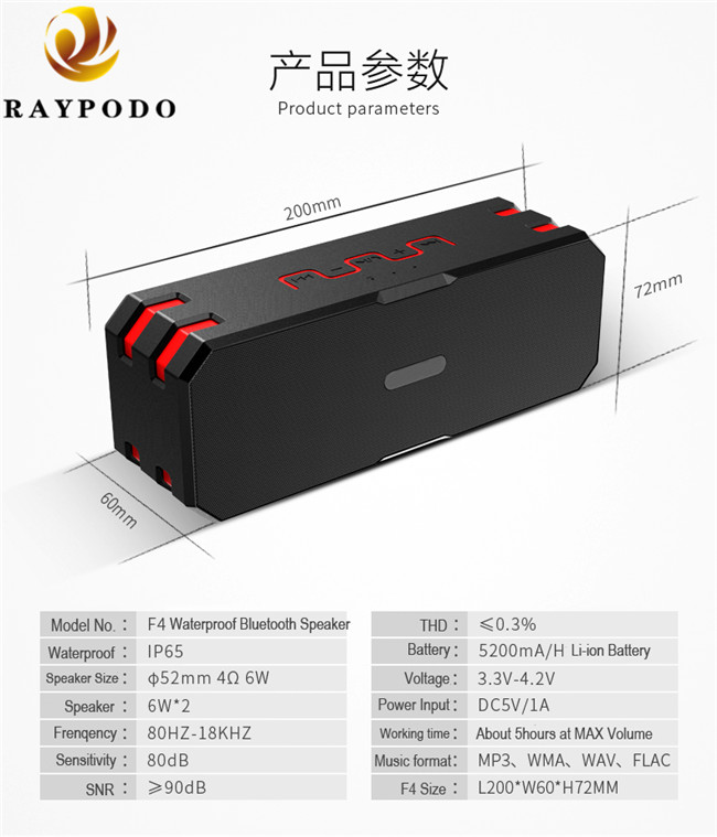 Outdoor Bluetooth Mini Portable Bluetooth Speakers IP65 12W Waterproof With MP3 Function